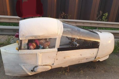 British police stop 'unusual vehicle' with balsa wood and duct tape body