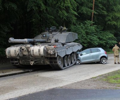 British tank crushes student driver's Toyota in Germany
