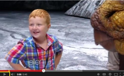Noah Ritter walks with dinosaurs on 'Ellen'
