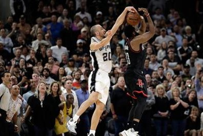 Manu Ginobili blocks James Harden at buzzer, San Antonio Spurs win over Houston Rockets