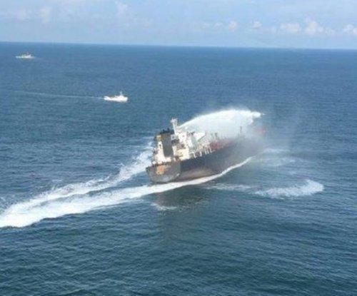 Pemex tanker listing after fire in Gulf of Mexico