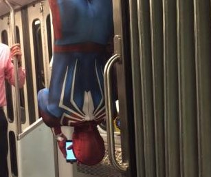 'Spider-Man' rides Boston train in distinctive style