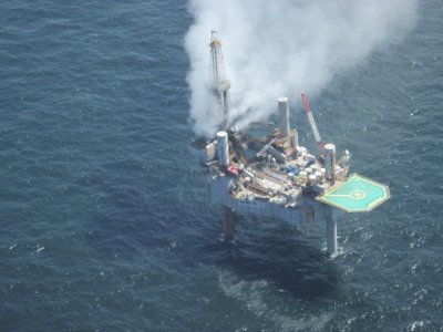 Drilling rig in Gulf of Mexico collapses after fire