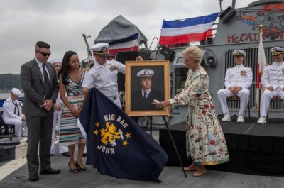 Cindy McCain honors late husband aboard USS John McCain