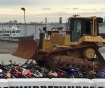 NYPD uses bulldozers to crush illegal motorcycles, ATVs