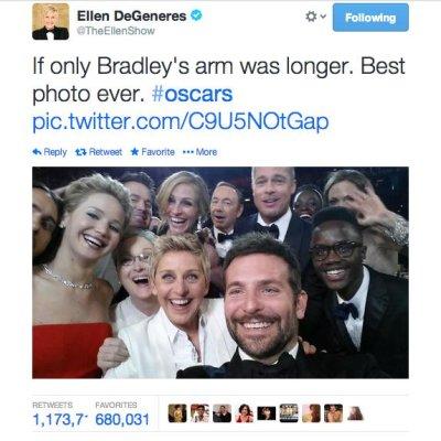 Oscars 2014: Ellen DeGeneres snaps the world's most epic selfie