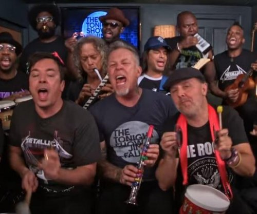Metallica joins Jimmy Fallon and The Roots for a classroom instrument rendition of 'Enter Sandman'