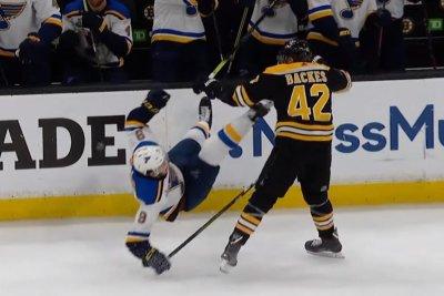 Boston Bruins' David Backes delivers crushing hit on Blues' Sammy Blais