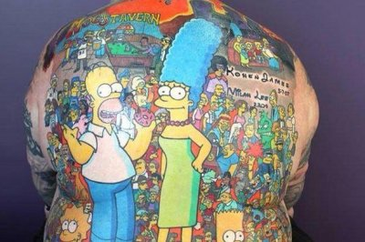 Man gets 203 'Simpsons' character tattoos on back