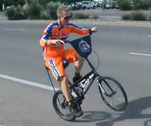Cyclist attempting 45-day cross-country ride on one wheel