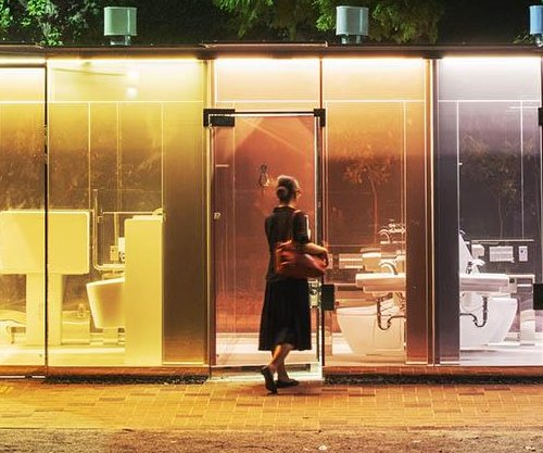 Toilets with transparent walls installed in two Tokyo parks