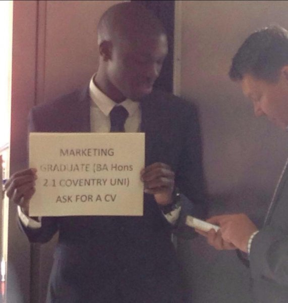 alfred ajani hands out resume in subway station  lands top