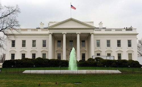 White House fountain goes green