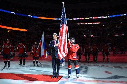 Secretary Kerry drops puck at Olympic hockey send-off