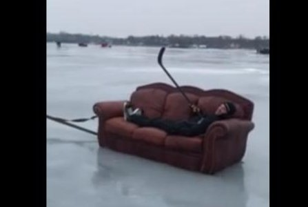 Friends use couch to skate across Minnesota lake