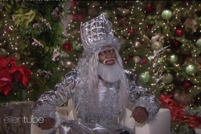 Lil Nas X wears 'Holiday' metallic Santa look on 'Ellen'