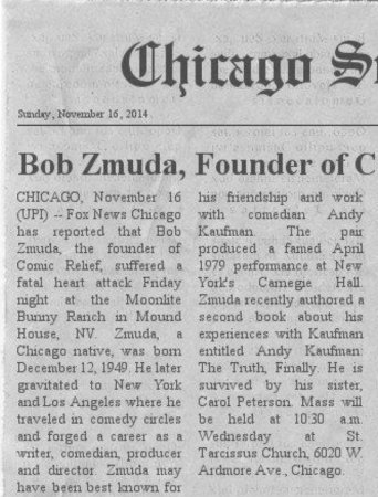 Fake UPI article used for Bob Zmuda death hoax