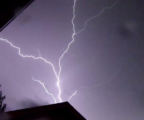 Lightning filmed in slow motion over Oklahoma