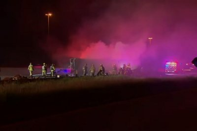 Truck load of toilet paper burns in Texas highway crash