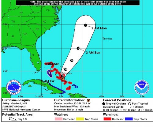 Hurricane Joaquin tracks away from U.S. East Coast