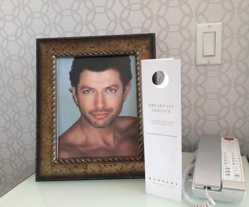 Hotel provides framed photos of Jeff Goldblum at guest's request