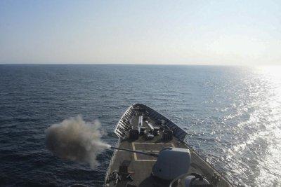 USS Vella Gulf conducting sea trials after repairs
