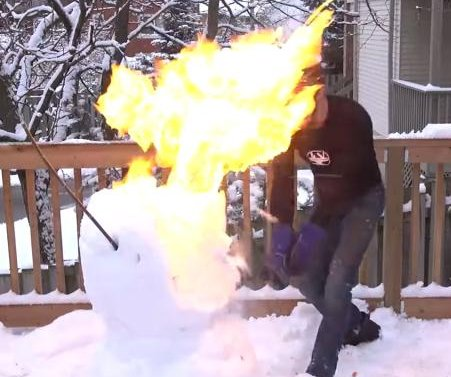 Science YouTuber uses red-hot katana sword to cut through fireworks, snowman