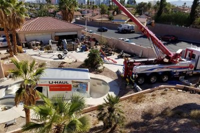 Watch:-U-Haul-truck-recovered-from-empty-swimming-pool