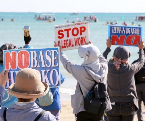 Okinawans protest construction of U.S. military runway