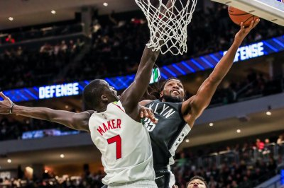 Detroit Pistons' Thon Maker denies Bobby Portis at rim