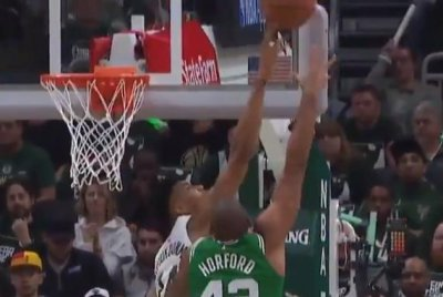 Milwaukee Bucks' Giannis Antetokounmpo rejects Boston Celtics' Al Horford