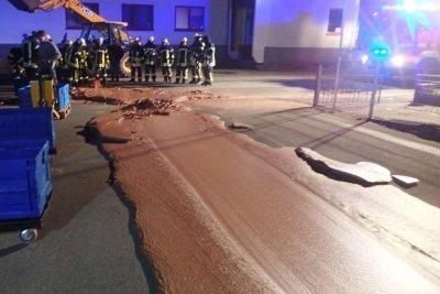 German factory spills chocolate into street