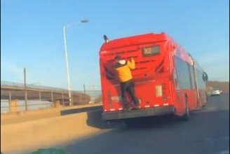 Teen takes free ride on back of D.C. Metro bus