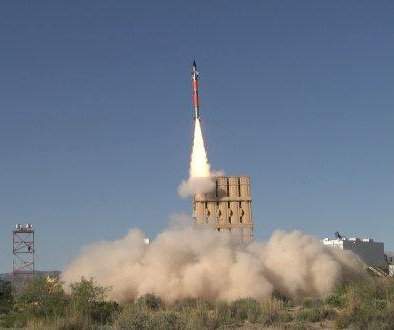 Tamir missile fired from U.S. Army Multi-Mission Launcher