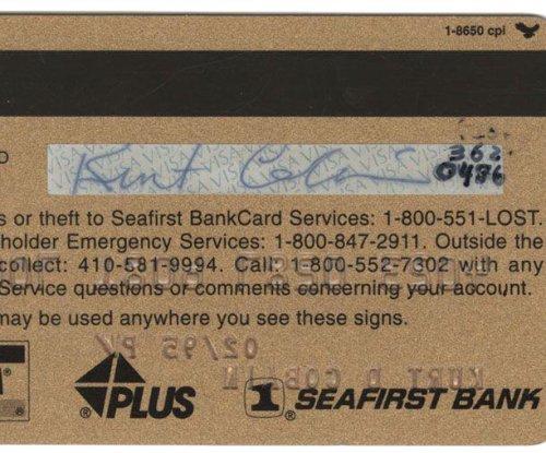 Kurt Cobain's credit card hits the auction block