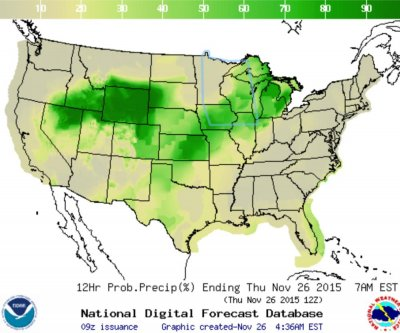Wet weather expected across U.S. for Thanksgiving