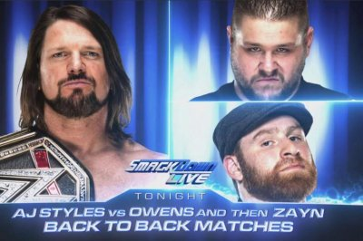 WWE Smackdown: AJ Styles faces both Kevin Owens and Sami Zayn