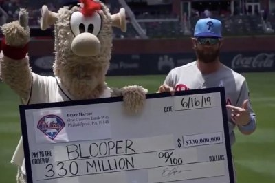 Braves mascot steals Bryce Harper's $330M contract