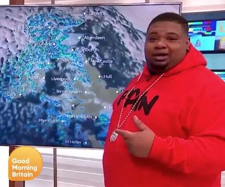 Rapper Big Narstie does the weather on 'Good Morning Britain'