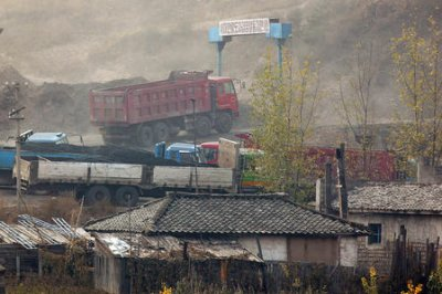 Images show North Korea piling coal in shipment yard