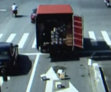 Truck loses boxes filled with iPhones on Chinese road