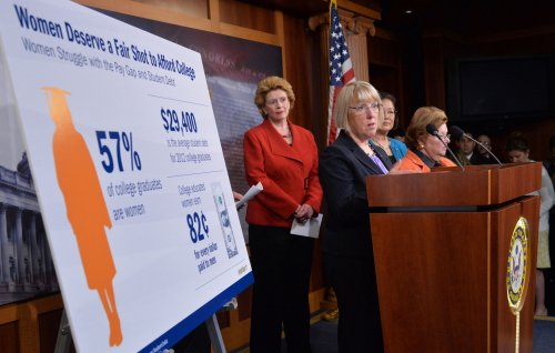 Female senators tie college loan push to equal pay