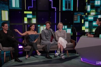 'Terminator: Dark Fate' stars imitate Arnold Schwarzenegger on 'A Little Late'