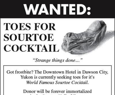 Stolen toe used in cocktail returned to Canadian hotel with apology