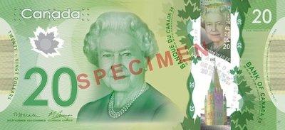 Canada unveils new polymer $20 bill