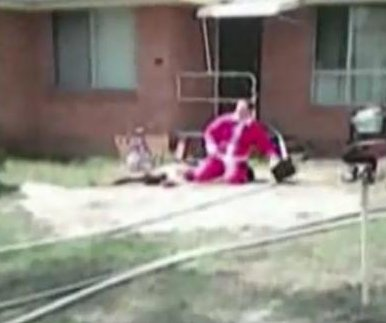 Santa-suited firefighter's rescue caught on camera