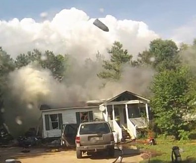 South Carolina house fire shoots aerosol at fire engine