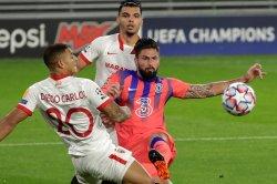 Champions League soccer: Giroud scores four as Chelsea sinks Sevilla