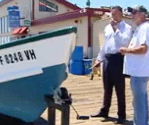 15-foot great white shark bites California fisherman's boat