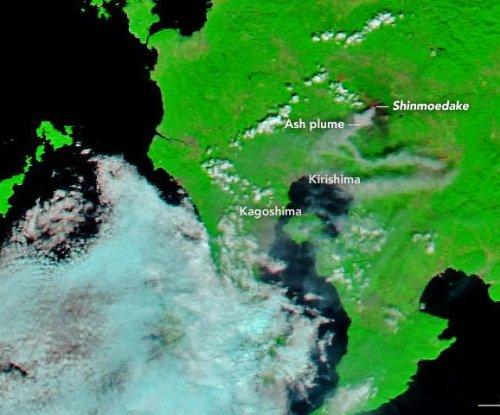 NASA satellite spots erupting Japanese volcano